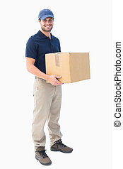 scatola, felice, consegna, presa a terra, cartone, uomo