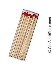 scatola, fiammiferi, isolato, fondo, bianco rosso