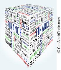 scatola, finanza, e, contabilità, parole