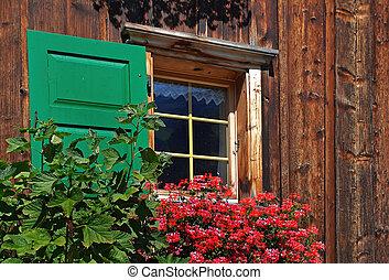 scatola, finestra, gerani