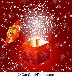 scatola, fiocchi neve, regalo, astratto, fondo, rosso