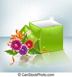 scatola, fiori