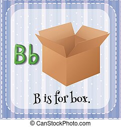 scatola, flashcard, b, lettera