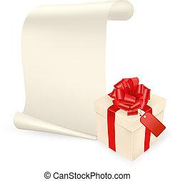 scatola, foglio, regalo, paper., elegante, vettore, fondo