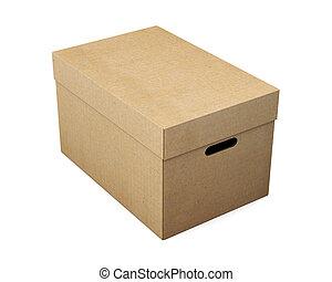 scatola, fondo., magazzino, interpretazione, bianco, cartone, 3d