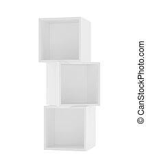scatola, fondo., mensole, interpretazione, white., 3d