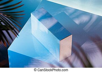 scatola, fondo., rendering., multicolore, realistico, bianco, cartone, 3d