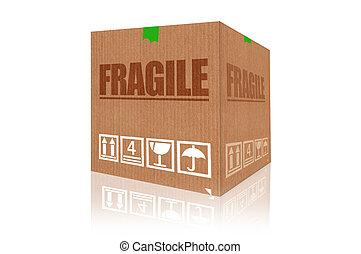 scatola, fragile, isolato, interpretazione, fondo, bianco, cartone, 3d