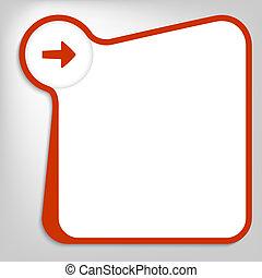 scatola, freccia, testo, vettore, entrare, rosso