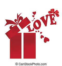 scatola, fuori, amore, venuta