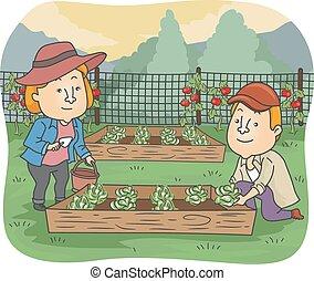 scatola, giardinaggio, elevato, verdura, coppia