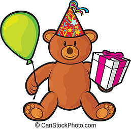 scatola, giocattolo, orso, regalo, teddy