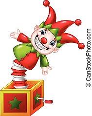 scatola, giocattolo, saltare, divertire, cartone animato, fuori