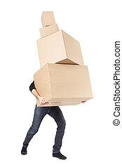 scatola, giorno, cartone, uomo commovente