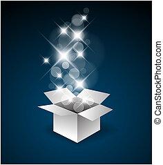scatola, grande, magia, regalo, sorpresa