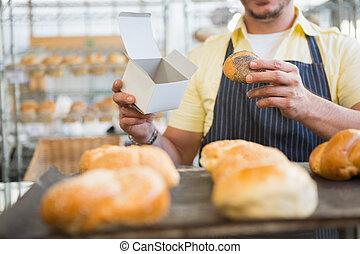 scatola, grembiule, lavoratore, presa a terra, bread