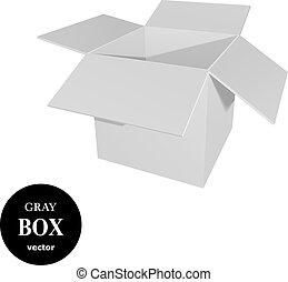 scatola, grigio, cartone
