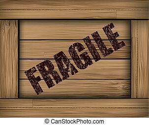 scatola, grunge, legno, fragile, fondo., vettore
