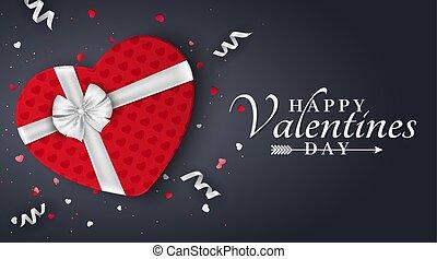 scatola, heart., fondo, regalo, banner., arco, valentines, romantico, giorno, scuro, fondo., vector., ribbons., coriandoli, bianco, felice, tuo, rosso, design.