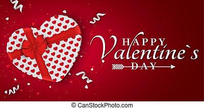 scatola, heart., fondo, regalo, banner., modello, valentines, romantico, giorno, hearts., bow., vector., ribbons., coriandoli, bianco, felice, tuo, rosso, design.