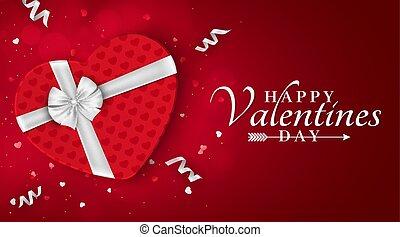 scatola, heart., fondo, regalo, banner., valentines, romantico, giorno, bow., vector., ribbons., coriandoli, bianco, felice, tuo, rosso, design.