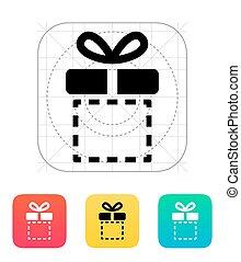 scatola, icon., regalo, vuoto