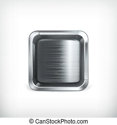 scatola, icona, app, vettore, metallo