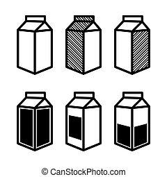 scatola, icone, set., succo, vettore, latte