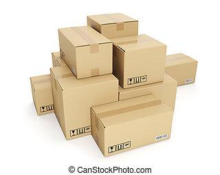 scatola, illustration:, fondo, bianco, cartone, 3d