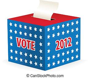 scatola, illustrato, immagine, scheda elettorale