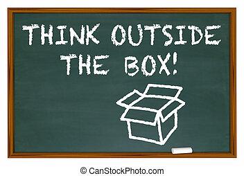 scatola, illustrazione, gesso, esterno, asse, parole, pensare, 3d