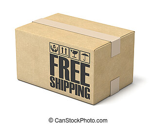 scatola, illustrazione, libero, interpretazione, spedizione marittima, fondo, bianco, cartone, 3d