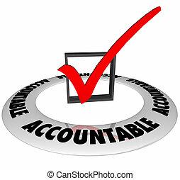 scatola, illustrazione, marchio, accountable, responsabilità, assegno, 3d
