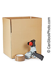 scatola, imballaggio, distributore, nastro, spedizione ...
