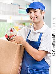 scatola, impiegato, cartone, vendite