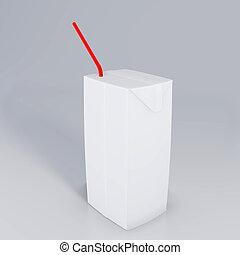 scatola, interpretazione, cartone, fondo., 3d, bianco, succo, paglia, isolato, mockup
