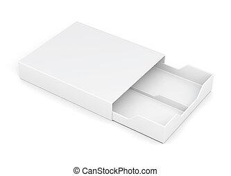 scatola, interpretazione, isolato, cassetto, fondo., bianco, aperto, 3d