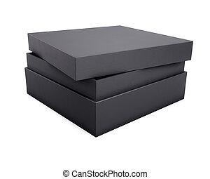 scatola, interpretazione, realistico, sfondo nero, bianco, design., tuo, 3d