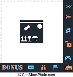scatola, invio, icona, appartamento