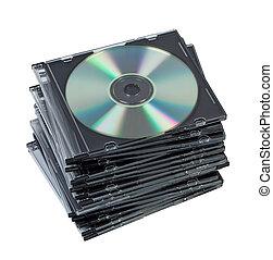scatola, isolated., dischi, pila, cd