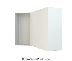 scatola, isolato, fondo, bianco, aperto, vuoto