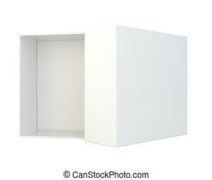 scatola, isolato, fondo., bianco, aperto, vuoto
