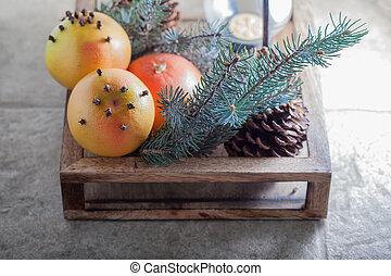 scatola legno, natale, arance