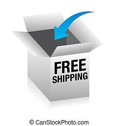 scatola, libero, spedizione marittima, 3d