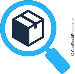 scatola, logotipo, ricerca, disegno, icona
