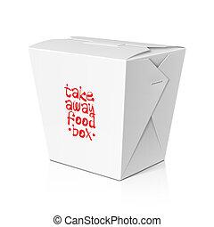 scatola, lontano, fettucina, prendere, cibo