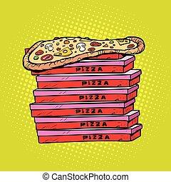 scatola, lotto, pizza