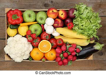 scatola, mangiare, sano, verdura, sopra, frutte