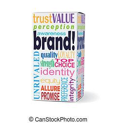 scatola, marca, parola, prodotto