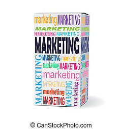 scatola, marketing, prodotto, parola
